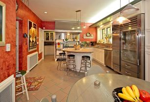 Eclectic Kitchen with U-shaped, Simple granite counters, Simple Granite, Undermount sink, Flush, Kitchen island, Glass panel