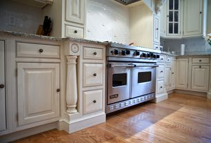 Traditional Kitchen with L-shaped, Glass panel, Raised panel, Large Ceramic Tile, Custom hood, Complex granite counters