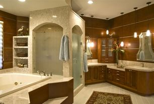 Modern Master Bathroom with Pendant light, Sandstone counters, Master bathroom, Lite source jaden 1 light pendant, Sandstone