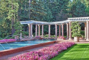 Traditional Landscape/Yard with Fountain, Gazebo, Calibrachoa Hybrid 'Superbells? Pink', Trellis, Raised beds, Pathway