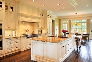 "Traditional Kitchen with Emser Tile Classica 3"" x 6"" Double Fire Glazed Ceramic Wall Tile in Cream, Breakfast nook, Flush"