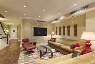 Contemporary Living Room with Crown molding, Rove Lounge Chair, Noguchi table, Hardwood floors, Pendant light