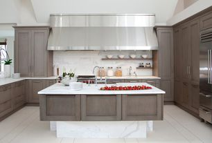 Contemporary Kitchen with Complex Marble, Quartz countertop, U-shaped, Flat panel cabinets, Kitchen island, Flush, can lights