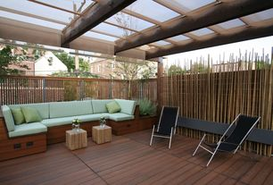 Contemporary Deck with Fence, Trellis, Sling chair, Pathway, Exposed wood beams, Cube ottoman