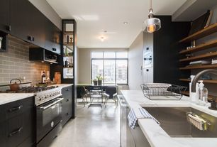 Contemporary Kitchen with flush light, dishwasher, Undermount sink, Standard height, Flush, Breakfast nook, Pendant light