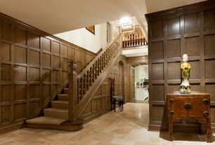 Traditional Staircase with High ceiling, Carpet, Floating staircase, Wainscotting