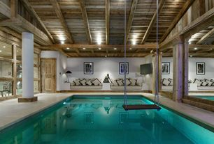Contemporary Swimming Pool with Indoor pool, Pine Plank Walls (1 in. x 6 in. x 8 ft. Tongue & Groove Board), Pathway, Column