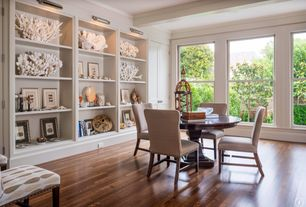 Traditional Dining Room with Crown molding, American vintage scraped vermont syrup, engineered hardwood flooring