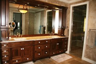 Traditional Master Bathroom with Shower, Raised panel, Standard height, Crown molding, Rain shower, specialty door