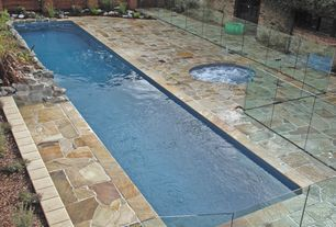Contemporary Swimming Pool with Pool with hot tub, Raised beds, Natural stone, exterior stone floors, Fence