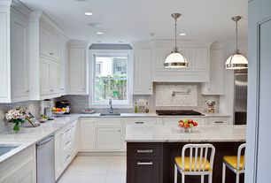 Traditional Kitchen with Pendant light, Custom hood, Crown molding, Inset cabinets, Carrara marble countertop, Subway Tile