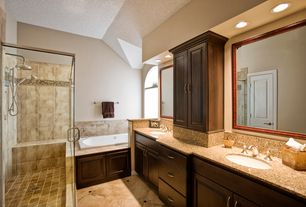 Traditional Master Bathroom with European Cabinets, Rain shower, Undermount sink, Handheld showerhead, Simple Granite, Flush