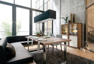 Contemporary Dining Room with SohoConcept Bosphorus Dining Table, High ceiling, Pendant light, Hardwood floors