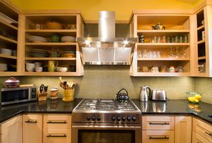 Contemporary Kitchen with Ceramic Tile, Standard height, Undermount sink, Flat panel cabinets, One-wall, full backsplash