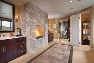 Modern Master Bathroom with Undermount sink, Flush, Wall sconce, Herringbone pattern firebrick, Master bathroom, Sandstone