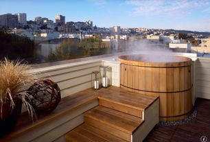 Hot Tub with Home patio & cabin shop-classic 4 person cedar hot tub, Wilco metal hurricane lantern, Soaking