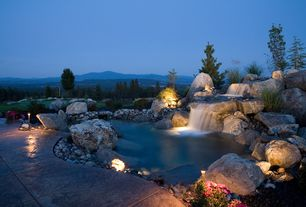 Rustic Landscape/Yard with Alderwood Landscaping Custom Water Feature, Fountain, Fence, Pond, Kichler LED Flood Light