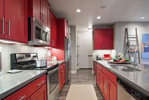 Contemporary Kitchen with Stainless steel counters, European Cabinets, Flat panel cabinets, flush light, Undermount sink