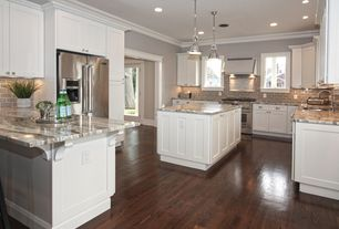 Traditional Kitchen with Pendant light, Armstron Flooring 5 in. Engineered Hardwood Wide Plank Hickory, Flat panel cabinets