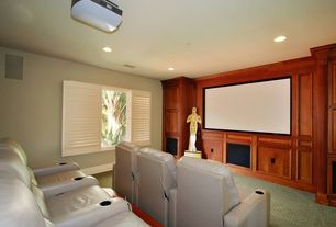 Traditional Home Theater with Carpet, Built-in bookshelf
