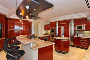 Contemporary Kitchen with Complex marble counters, Island Hood, single bowl undermount sink, High ceiling, marble floors