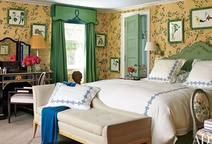 Traditional Guest Bedroom with Carpet, bedroom reading light, Standard height, interior wallpaper, double-hung window