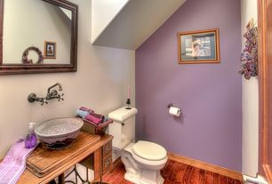 Eclectic Powder Room with Rohl Country Bath-Acqui Wall Mount Bridge wall mount faucet, European Cabinets, Wood counters