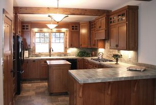 Traditional Kitchen with Custom hood, Slate Tile, Stone Tile, Flush, Exposed beam, Kitchen island, Flat panel cabinets
