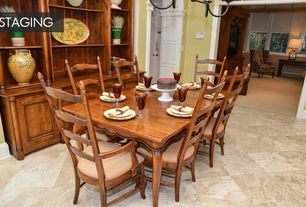 Country Dining Room with Chandelier, travertine tile floors