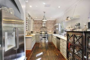 Country Kitchen with U-shaped, Corian counters, Glass panel, Crown molding, Brick It French Provincial Wall Thin Brick, Flush