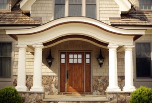 Traditional Front Door with exterior stone floors, Pathway, Glass panel door
