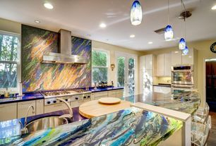 Eclectic Kitchen with Ceramic Tile, Kitchen island, L-shaped, Destiny: acrilux cabinets, Pendant light, Flush, French doors