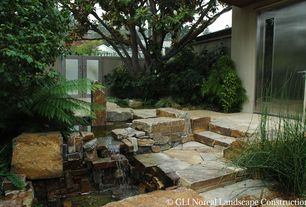 Contemporary Landscape/Yard with Pond, Fence, Gate, Oklahoma Flagstone Steps, Oklahoma Flagstone, French doors, Pathway