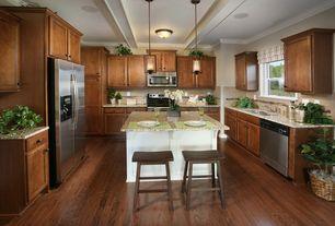 Traditional Kitchen with Pendant light, Raised panel, Exposed beam, Limestone Tile, Breakfast bar, flush light, High ceiling
