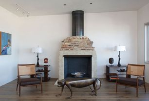 Eclectic Living Room with specialty window, Pendant light, Standard height, Hardwood floors, Wood Stove fireplace, Fireplace
