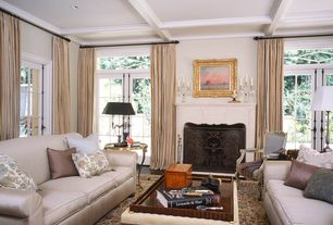 Traditional Living Room with Crown molding, Box ceiling, Hardwood floors, Cement fireplace, French doors, Transom window
