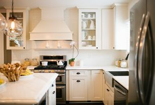 Cottage Kitchen with Clift oversized glass pendant, Custom hood, White subway tile, Pendant light, Subway Tile, Glass panel