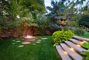 Contemporary Landscape/Yard with Fire pit, Stone steps, Fence, Outdoor lighting, Stone step