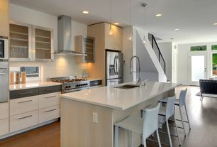 Contemporary Kitchen with Destiny: acrilux cabinets, Breakfast bar, 12-1/2 in. stainless-steel finish bar pull, Pendant light