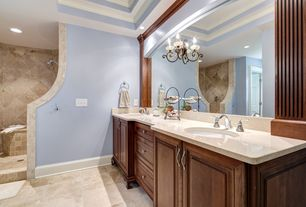 Traditional Master Bathroom with wall-mounted above mirror bathroom light, Shower, Complex Marble, Flush, Travertine counters