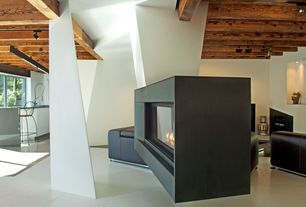 Contemporary Living Room with Concrete tile , Exposed beam, Napoleon Plasmafire Wall-Mounted Vent-Free Gas Fireplace