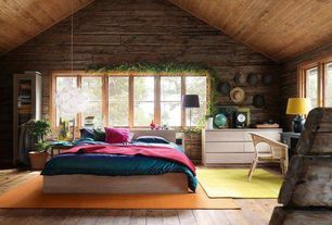 "Rustic Master Bedroom with Jaipur rugs vista green solid area rug, 5' x 7'6"", Ikea - fileta pendant lamp, white 19"""