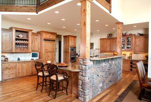 Country Kitchen with Restoration Hardware Empire Camelback leather sidechair, Montserrat Coastal Bar Height Bar Stool