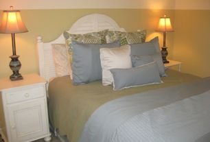 Cottage Master Bedroom with Carpet