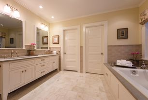 Traditional Master Bathroom with Inset cabinets, Birch Porcelain Tile, Ms international sunny light limestone, Lagos Blue