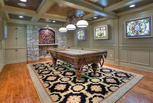 Traditional Game Room with Pendant light, Hardwood floors, Chair rail, Box ceiling, Crown molding