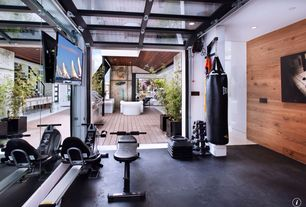 Contemporary Home Gym with Ufc mma octek training bag, CAP Barbell 280 lb. Dumbbell Set with A Frame Rack, tv wall mount