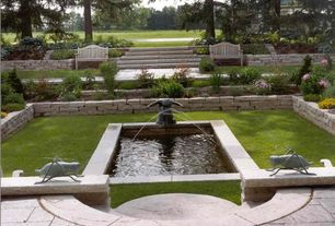 Traditional Landscape/Yard with exterior stone floors, Raised beds, Fountain, Water feature, Gazebo, Pond