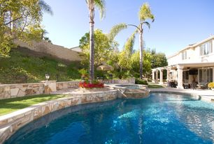 Contemporary Swimming Pool with Columns, slate floors
