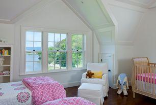 Traditional Kids Bedroom with Crown molding, Hardwood floors, specialty door, Built-in bookshelf, Box ceiling, High ceiling